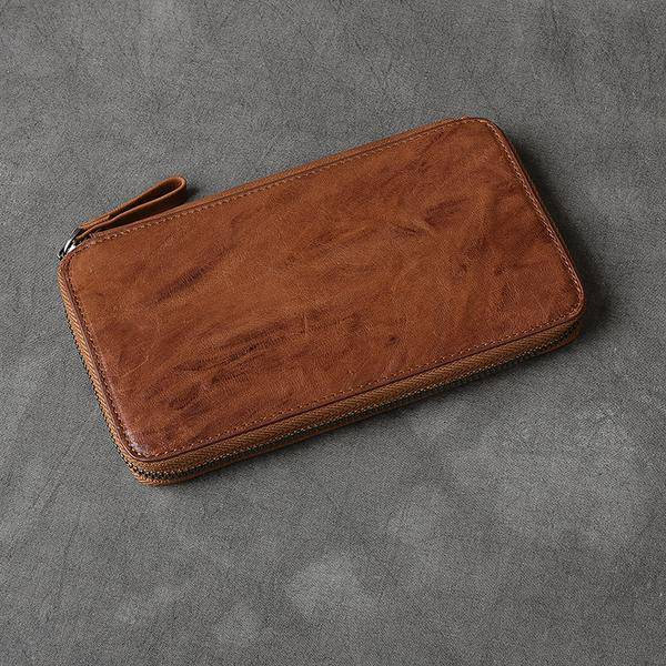 On Sale, Full Grain Leather Long Wallet, Handmade Card Holder Wallet, Long Clutc