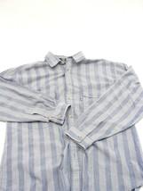 EUC LEVIS Silver Label Big E Medium Blue Striped Button Front Shirt Long... - £12.14 GBP