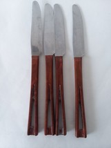 Vtg Stanley Stainless Light Brown Cut Out Handle Lot of 4 Dinner Knives - $14.84