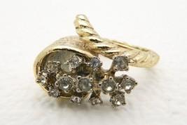 VTG Gold Tone White Cubic Zirconia Rhinestone Cornucopia Horn Ring Unusual - $11.88