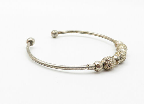 925 Sterling Silver - Vintage Etched Ball Bead Petite Cuff Bracelet - B6137 image 4