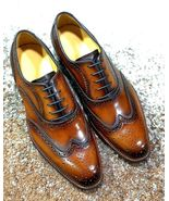 Bespoke Men Brown Wing tip Brogue Oxford Leather Dress Formal Shoes - $159.97+