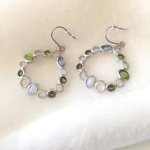 Green & Blue Glass Matt Sterling Silver Dangle Earrings 925 - $34.00