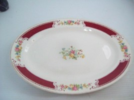 "Vintage Homer Laughlin Oval Platter Majestic  Burgundy and Flowers 13.5"" - $29.65"