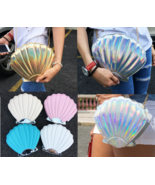 Shell Shape Bag Holographic Clutch Laser Metallic Handbag Shaped Purse  NEW - $21.95