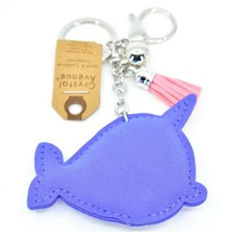 Pave Crystal Accent 3D Stuffed Pillow Narwhal Whale Keychain Key Chain image 2