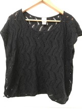 Womens Mossimo Black Boxy Open Knit Sweater Short Top Size Extra Small Xs - $12.95