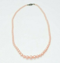 Sterling Silver Pink Faux Glass Pearl Bead Beaded Necklace Wedding Vintage - $39.59