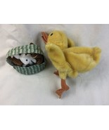 Folkmanis Hand Puppet Duck Plush And bunnies in basket lot  - $22.42