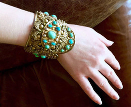 BIG Antique Persian Bracelet with Persian turquoise sterling yellow gold  - $5,890.00