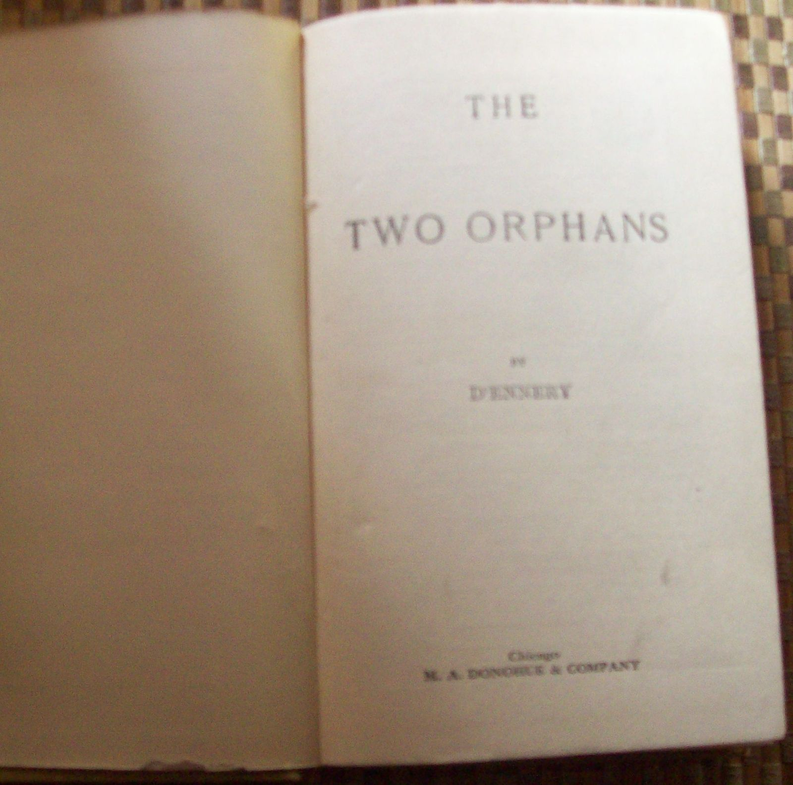 The Two Orphans by Adolphe D'ennery  HB Two Sisters in Paris