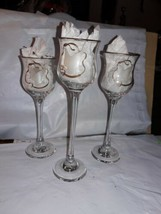LE Smith Glass Candle Votive Holders Set of 3  Long Stem New Handmade US... - €14,97 EUR