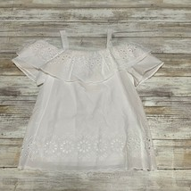 NWT monteau girls White Eyelet Off the shoulder Blouse Top Size S - $24.75