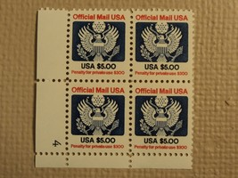 USPS Scott O133 $5 Official Mail USA 1983 Mint NH Plate Block 4 Stamps - $74.95