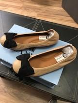 New AUTH Lanvin  Nude & Black Lambskin Bow Ballerina Shoe EU SZ 36.5 $598 - $193.99