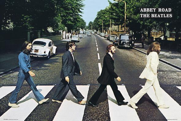 Beatles abbey road poster 24x36 writing on right horizontal