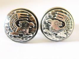 Vintage Mexico Mayan Aztec Bird Round Carved Relief Cufflinks - $27.93
