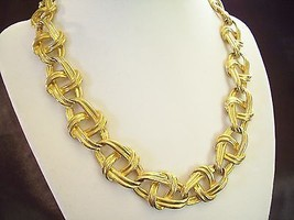 Fancy MARINER Link Chain Gold Plated Necklace Choker Oval Twist Vintage ... - $24.74