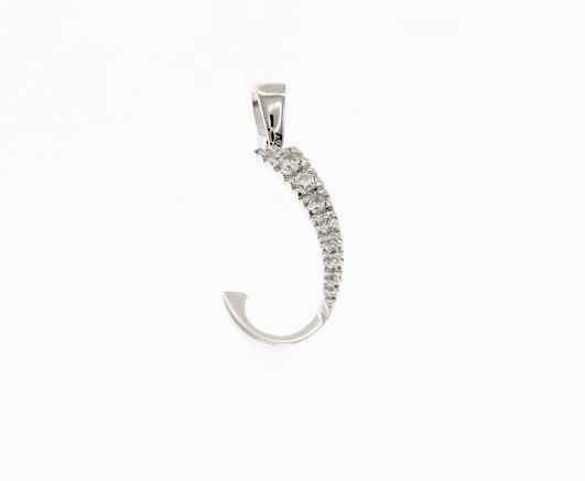 18K WHITE GOLD PENDANT CHARM INITIAL J LETTER J AND CUBIC ZIRCONIA MADE IN ITALY