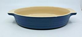 "Le Creuset Stoneware Dark Blue Oval Casserole Baking Dish Handle11.5"" Wide - $70.23"