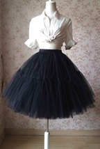 Black Tulle Horse Hair Puffy Elastic Tulle Knee A Line Wedding Skirt NWT image 1