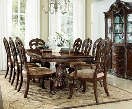 2243-114 Traditional 9PCs Formal Cherry Pedestal Leaf Dining Table Set