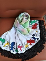 Painted Viscose Tassel Shawls Colorful Scarf inspired by Keith Haring Art.  - $49.50