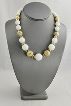 "VINTAGE RETRO Jewelry WHITE PLASTIC & TEXTURED GOLD BEAD NECKLACE  - 18"" - $10.00"