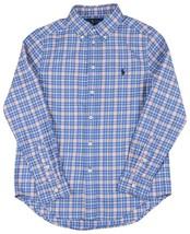 Polo Ralph Lauren Boys Blue Orange Plaid Button Down Shirt Small S (8) 9... - $37.02