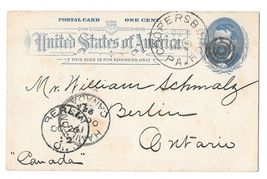 UX11 Postal Card 1c Grant 1892 Coopersburg PA Target Cancel to Berlin Ca... - $9.95