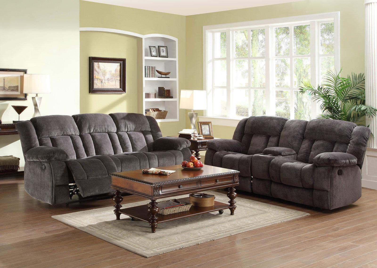 New Lugo Modern Living Room Couch Set Gray Microfiber