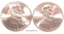 2017 P D Lincoln Shield Cent 2 BU Coin Set From OBW Rolls - $1.09