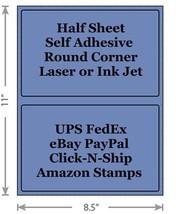 Standard Blue Shipping Labels 8.5x5.5 Half Sheet Self Adhesive eBay PayPal - $1.99+
