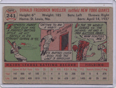 1957 Topps 241 Don mueller Not Graded