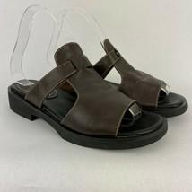 Liz Claiborne Sandals 6.5 Corkie Brown Flats Slip On Slides Shoes Casual Womens - $17.34