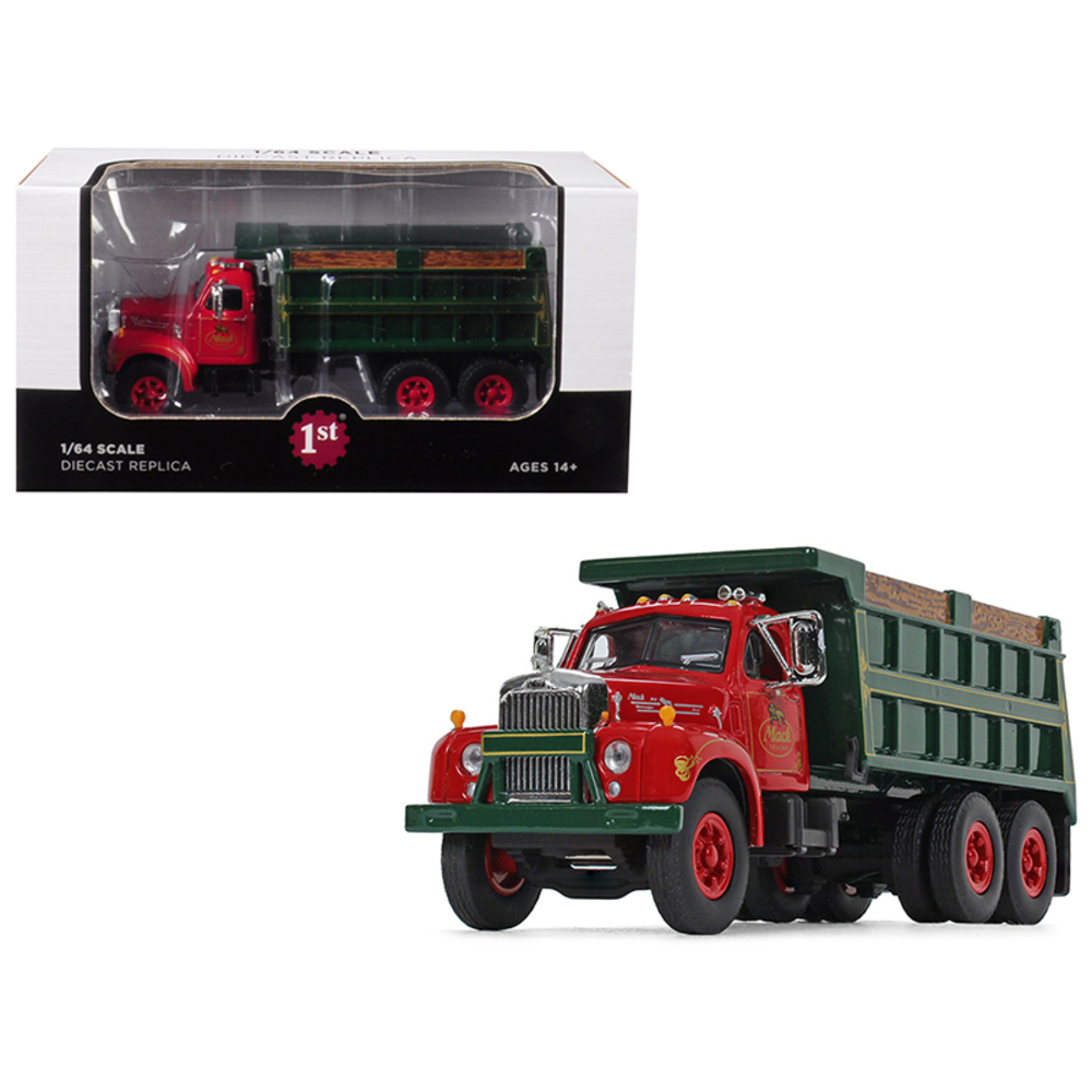 Mack B-61 Tandem Axle Dump Truck Mack Trucks, Inc. Red Cab and Green Body 1/64 D