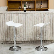 Adjustable Swivel Contemporary  2 Stools Chrome Air Lift, White Modern B... - $77.59