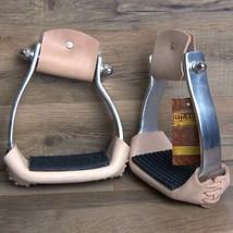 "Hilason Western Aluminium Angled Horse Saddle Stirrups Pair W/ 5 "" Width U-30+L - $59.35"