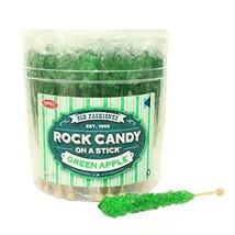 Extra Large Rock Candy Sticks 22g: 48 Green Apple Lollipops - Green Rock... - $35.32