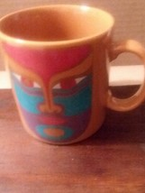Coffee Mug Laurel Burch Machado  Tribal Mask Collectble 1992 Japan  16 O... - $14.84