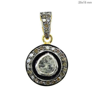 Primary image for 925 Sterling Silver 0.65 Ct Rose Cut Diamond Pave 14K Gold Round Charm Pendant