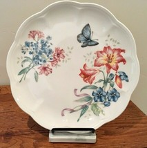 Lenox Butterfly Meadow Bouquet Fritillary Lily Blue Scalloped Luncheon Plate - $23.36