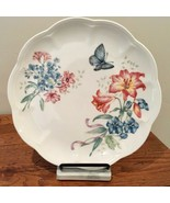 Lenox Butterfly Meadow Bouquet Fritillary Lily Blue Scalloped Luncheon P... - $23.36
