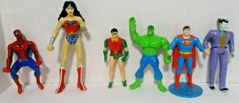 DC / Marvel Action Figures Lot of 6 Superman Joker Robin Hulk Wonder Woman  - $19.79
