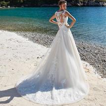 Lace Applique Sleeveless Illusion Vintage Beach Wedding image 2