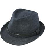 Henschel Wool Blend Fedora Matching Band And Loop Navy Brown Black - $44.00