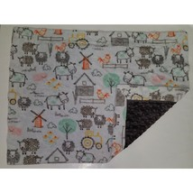 "Farm Gray Minky Dot Lovey Sheep Cow Pig Windmill Tractor Baby Blanket 19"" x 25"" - $24.70"