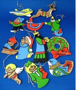 Wood Christmas Ornaments Set of 12 Hand Painted King Clown Wreath Vintag... - $18.00