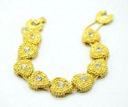 Clear Rhinestone Heart Slide Chain Link Clear Rhinestone Bracelet Vintage - $24.74