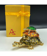 TURTLE FIGURINE AC gold jewelry trinket box case triple gemstones gem to... - $33.66